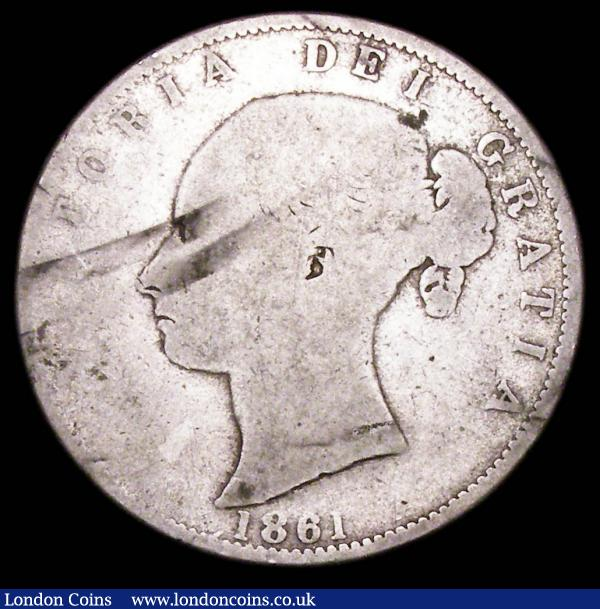 "Halfcrown 1861 Fair, one of the 'missing' dates in the Young Head Halfcrown series, mentioned by way of footnote in ESC by Rayner in the 1969 edition who had heard of an example sold in a ""Northern"" auction in Fair in 1967 for £115. Reported as unrecorded in Royal Mint striking records, more recent opinion is that these are regarded as later forgeries struck around 1887 from worn dies, as the head types are incorrect for the period : English Coins : Auction 157 : Lot 2479"