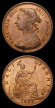 London Coins : A157 : Lot 2679 : Halfpennies (2) 1882H Freeman 347 dies 19+S UNC or near so and lustrous with a small tone spot on th...