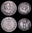 London Coins : A157 : Lot 2740 : Maundy Set 1694 ESC  Fourpence NVF, Threepence VF, Twopence GF, Penny GVF toned