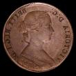 London Coins : A157 : Lot 763 : Mint Error - Mis-Strike Obverse Brockage Halfpenny Victoria Bun Head, Beaded Border (Obverse 1) VF a...