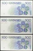 London Coins : A158 : Lot 155 : Belgium (3) National Bank 500 Francs issued 1982 - 1998, a consecutively numbered run series 4180766...