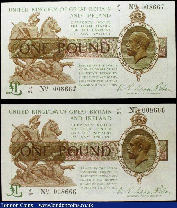 One Pound Warren Fisher (2) T31 issued 1923, a consecutively numbered pair series J1/97 008666 & J1/97 008667, portrait KGV at right, pressed EF look better, scarce as a pair : English Banknotes : Auction 158 : Lot 17