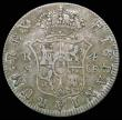 London Coins : A158 : Lot 2026 : Half Dollar George III Oval Countermark on a Spain 4 Reales 1773S CF (Seville) ESC 611, Bull 1876 ty...
