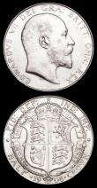 London Coins : A158 : Lot 2268 : Halfcrowns (2) 1906 ESC 751 EF with a metal flaw on the obverse, 1908 ESC 753 GVF/NEF