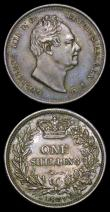 London Coins : A158 : Lot 2518 : Shillings (2) 1837 ESC 1276 GVF toned, comes with an old collector's ticket stating 'Baldw...