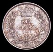London Coins : A158 : Lot 2583 : Sixpence 1845 ESC 1691 Lustrous UNC or near so with hints of golden tone