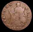 London Coins : A158 : Lot 3296 : Halfpenny 1701 V's in GVLIELMVS and TERTIVS are inverted A's, BRITANNIA has unbarred A...