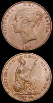 London Coins : A158 : Lot 3323 : Pennies (2) 1855 Plain Trident Peck 1509 About UNC toned with a trace of lustre, 1858 Small Date WW ...