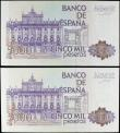 London Coins : A158 : Lot 493 : Spain (2) 5000 Pesetas dated 23rd October 1979 (issued 1982), a consecutively numbered pair series 8...