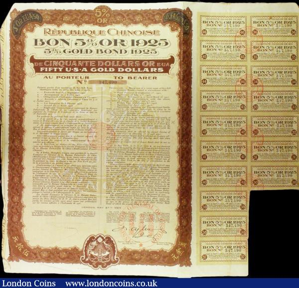 China: 1925, 5% Gold 'Boxer' Loan, a group of bonds for $50US (11), brown and yellow, with coupons, mostly VF and better (11) : Bonds and Shares : Auction 158 : Lot 5