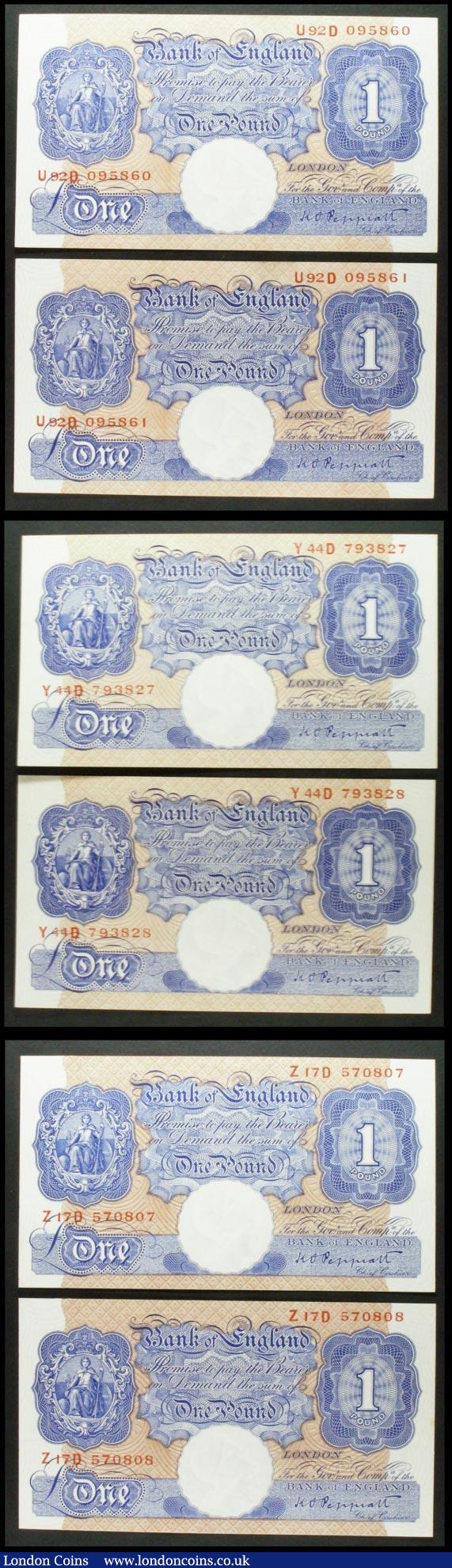 One Pound Peppiatt (6) B249 blue emergency issue 1940, 3 consecutively numbered pairs, prefixes U92D, Y44D and Z17D, wartime issue, almost UNC : English Banknotes : Auction 158 : Lot 53