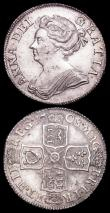 London Coins : A159 : Lot 1029 : Shilling 1708 Plain in angles and below bust Third Bust ESC 1147 GEF and lustrous, Crown 1819 LIX Q ...