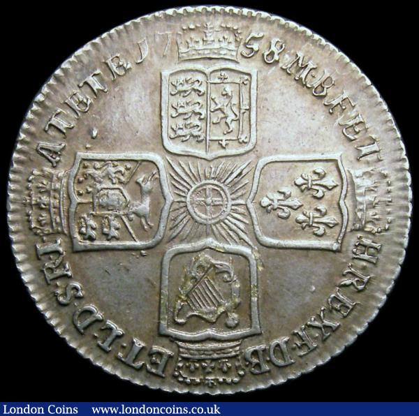 Shilling 1758 ESC 1213 GEF/AU, slabbed and graded LCGS 70 : English Coins : Auction 159 : Lot 1041