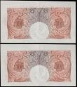 London Coins : A159 : Lot 1462 : Catterns Ten Shillings (2) B223 issued 1930, a pair of consecutively notes series N54 979029 & N...