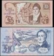 London Coins : A159 : Lot 1705 : Guernsey (2) 10 Pounds issued 1991 - 1995 series F483129, blue signature M.J. Brown, (Pick54a), 5 Po...