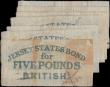 London Coins : A159 : Lot 1770 : Jersey States 5 Pounds (7) dated 1840, British administration interest bearing note, pen cancelled, ...