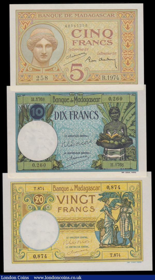 Madagascar (3) 20 Francs, 10 Francs & 5 Francs issued 1937 - 1947, (Pick35, Pick36 & Pick37), Uncirculated : World Banknotes : Auction 159 : Lot 1788