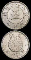 London Coins : A159 : Lot 2078 : Japan 5 Sen (2) 1894 (Year 27) Y#19 Toned UNC with small rim nicks, 1898 (Year 31) Y#31 Toned UNC wi...