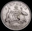 London Coins : A159 : Lot 2990 : Australia Sixpence 1914 KM# A/UNC and nicely toned, the reverse with some dark spots