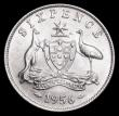 London Coins : A159 : Lot 2991 : Australia Sixpence 1956 KM#58 UNC and with some lustre