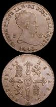 London Coins : A159 : Lot 3406 : Spain 8 Maravedis (2) 1813 KM#461 GVF for wear with some porosity, scarce, 1843 KM#531.2 EF with som...
