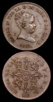 London Coins : A159 : Lot 3409 : Spain Maravedi (2) 1842 Segovia Mint, mintmark Aqueduct KM#525.3 EF with a few light surface marks, ...