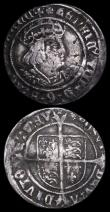 London Coins : A159 : Lot 608 : Groat Henry VIII Second Coinage S.2337E, Laker Bust D, mintmark Rose Fine with some heavy contact ma...