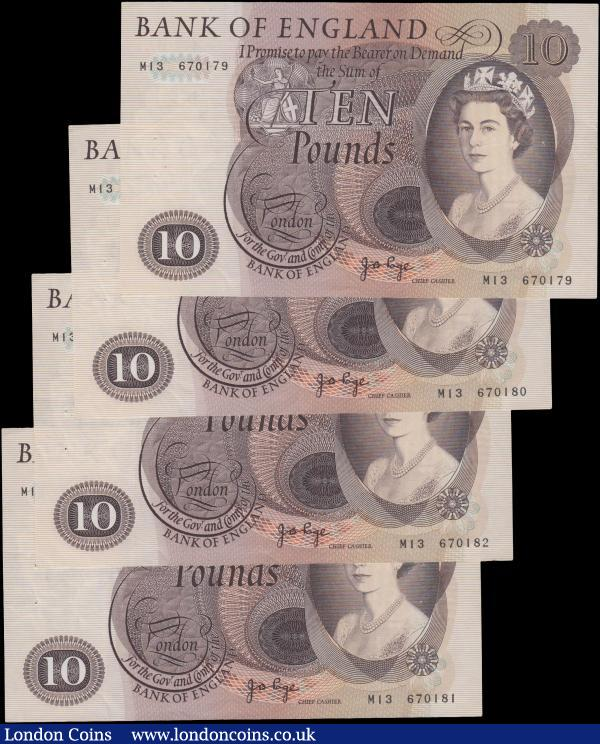 Ten Pounds Page B327 (4) issued 1971, a consecutively numbered run of Replacement notes series M13 670179 - M13 670182, (Pick376c), each with a set of staple holes, good VF : English Banknotes : Auction 160 : Lot 112