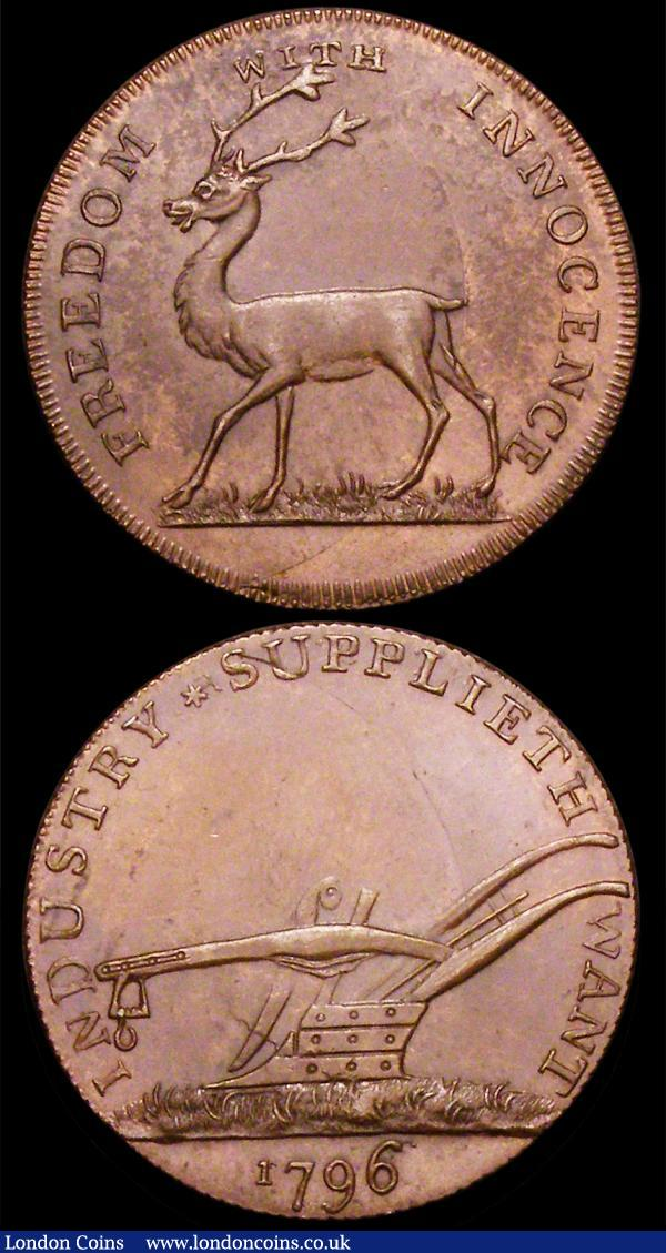Halfpennies 18th Century Middlesex (3) 1795 Kilvington's DH346 EF with traces of lustre, 1794 Tooke DH1047 EF with traces of lustre, 1796 Stag DH1041e EF nicely toned : Tokens : Auction 160 : Lot 1675