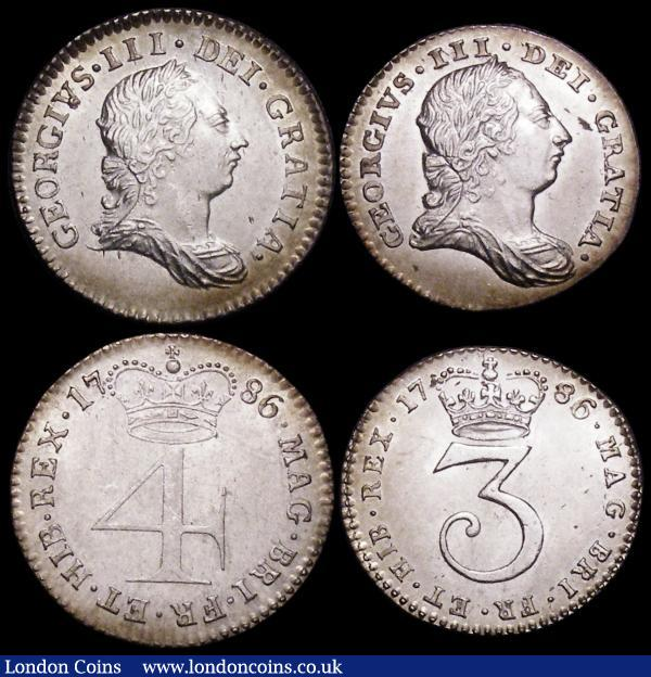 Maundy Set 1786 ESC 2418, Bull 2236 Lustrous UNC and matching with hints of golden tone, GEF to lustrous UNC, the Penny and Twopence with small edge nicks, the Fourpence with some hairlines : English Coins : Auction 160 : Lot 2303