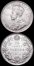 London Coins : A160 : Lot 3125 : Canada (2) 25 Cents 1916 KM#24 EF, 10 Cents 1902H KM#10 EF and with some lustre