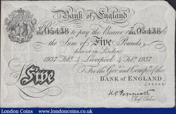 Five Pounds Peppiatt white note B241e dated 4th February 1937 series T/243 05438, LIVERPOOL branch note, (Pick335b), small stain on reverse, scarce branch issue, Fine to good Fine : English Banknotes : Auction 160 : Lot 42