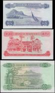 London Coins : A160 : Lot 467 : Mauritius (3), 25 rupees series A/13 110793, (pick32b), light dent in paper otherwise UNC, 10 Rupees...