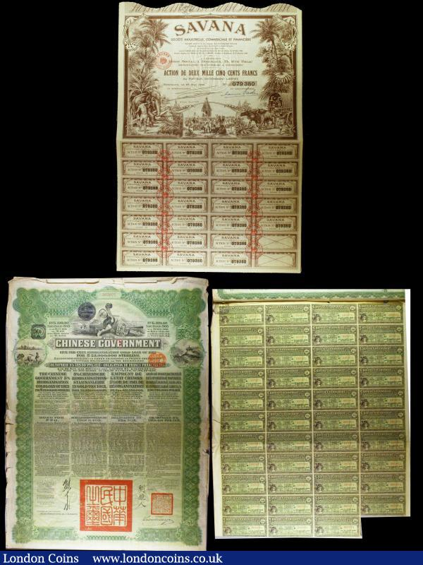 China, Chinese Government 1913 Reorganisation Gold Loan, £20 Russian issue, vignettes of Mercury and Chinese scenes, black & green with coupons Fine, Savana Societe Industrielle, Commerciale et Financiere 2500 Francs 1952 VF  : Bonds and Shares : Auction 160 : Lot 6