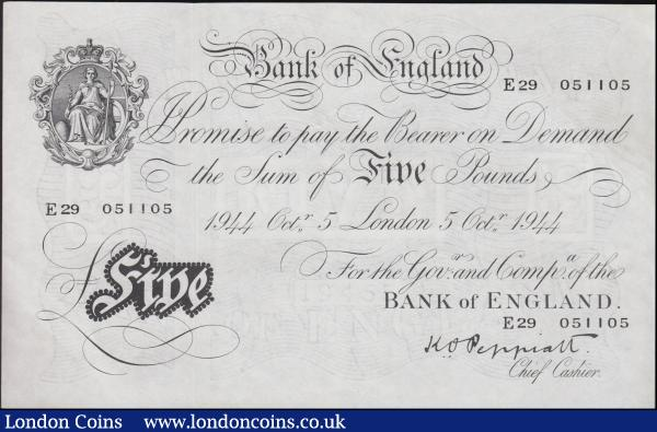 Five Pounds Peppiatt white note B255 dated 5th October 1944, series E29 051105, London issue, thicker paper issue, (Pick342), EF : English Banknotes : Auction 160 : Lot 60