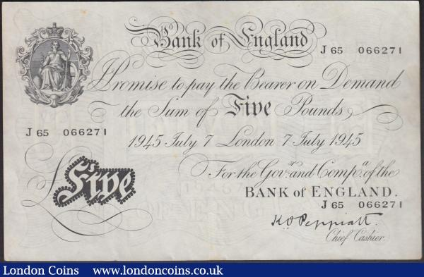 Five Pounds Peppiatt white note B255 dated 7th July 1945, series J65 066271, London issue, thicker paper issue, (Pick342), a few small foxing spots, EF  : English Banknotes : Auction 160 : Lot 61