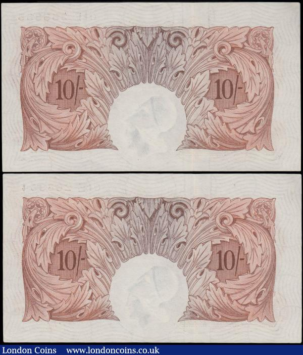 Ten Shillings Peppiatt B262 issued 1948, threaded variety a consecutively numbered pair of last series 01E 265354 & 01E 265355, (Pick368a), good EF  : English Banknotes : Auction 160 : Lot 64