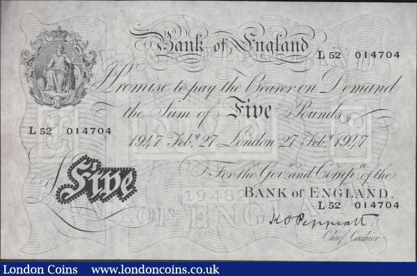 Five Pounds Peppiatt white note B264 dated 27th February 1947, series L52 014704, London issue, (Pick343), pressed good VF : English Banknotes : Auction 160 : Lot 66