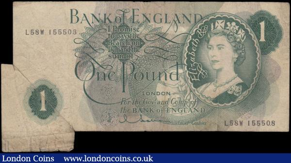 ERROR One Pound Hollom B288 issued 1963, extra paper 'fishtail' to bottom left corner, series L58W 155508, (Pick374c), some dirt, Fine : English Banknotes : Auction 161 : Lot 162