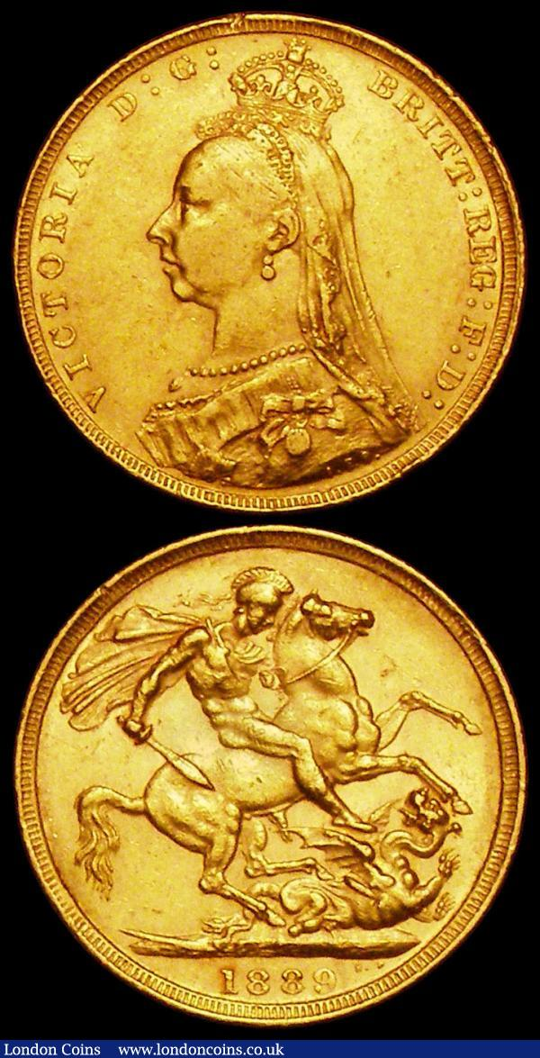 Sovereign 1889 G: of D:G: closer to crown S.3866B, DISH L11, GF/VF, Crown 1891 ESC 301, Bull 2591, VG the reverse slightly better : English Coins : Auction 161 : Lot 2023