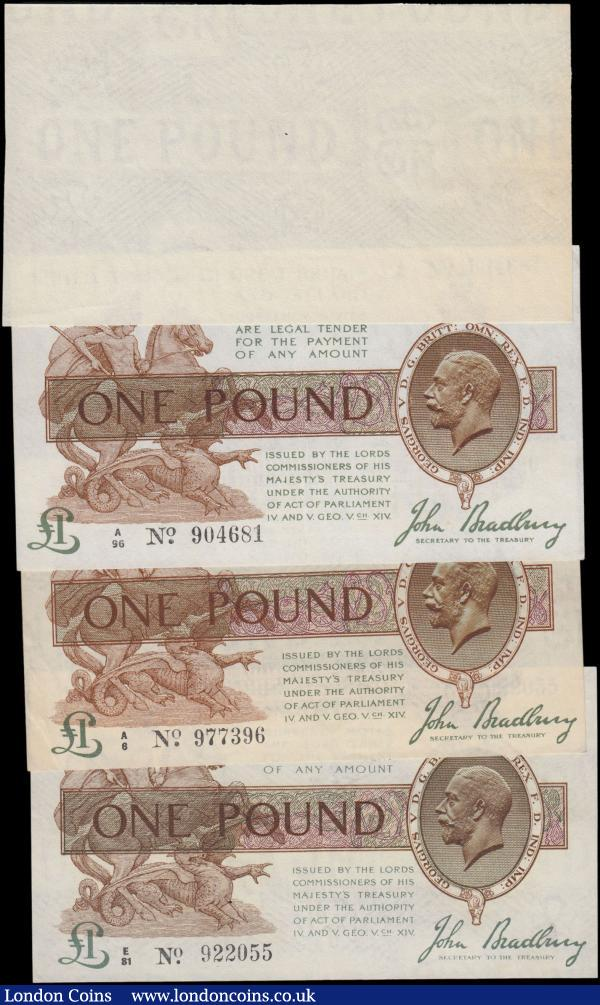 One Pound Bradbury (4), T16 issued 1917 two first series notes, A/6 977396 & A/96 904681, King George V portrait at right, the first about EF, the second pressed EF with 2 pinholes, One Pound Bradbury T16 issued 1917, series E/81 922055, portrait King George V at right, (Pick351), cleaned and pressed good VF, plus a Treasury One Pound watermarked paper for use on Bradbury T16, slight toning about Uncirculated : English Banknotes : Auction 161 : Lot 24