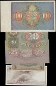 London Coins : A161 : Lot 266 : Estonia (4) & Lithuania (1), Estonia 100 Krooni dated 1935, (Pick66a), about VF, 20 Krooni dated...