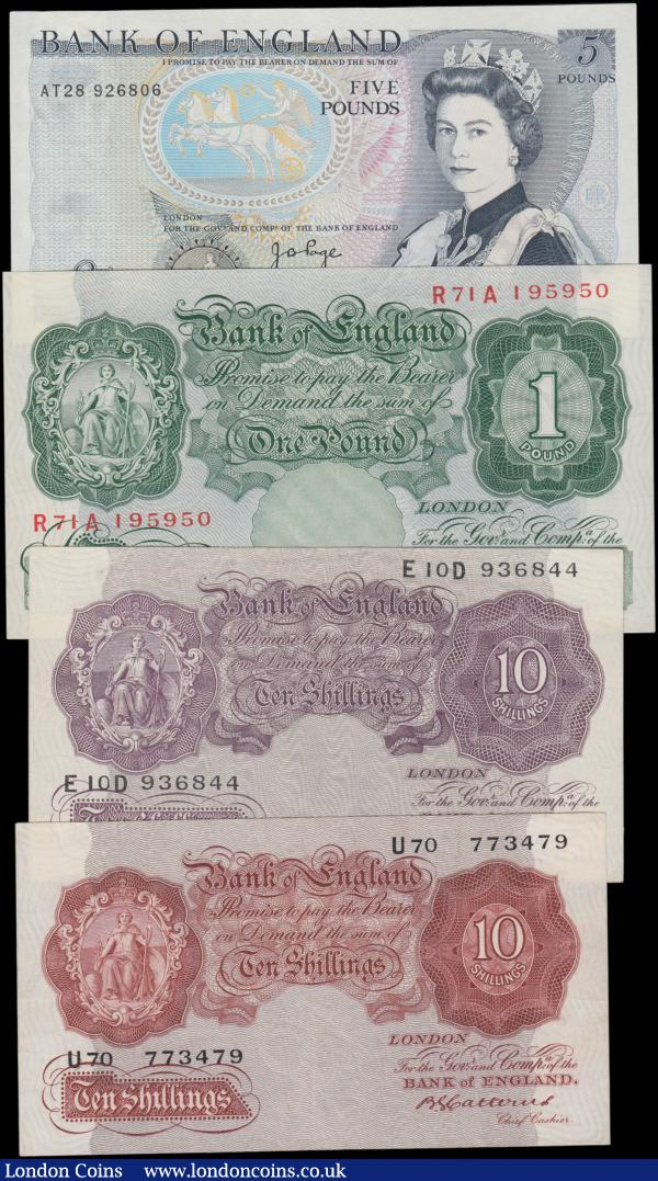 Ten Shillings, One Pound & Five Pounds, Catterns 10 Shillings B223 issued 1930 series U70 773479, about VF to VF, Peppiatt 10 Shillings B251 issued 1940 WW2 emergency mauve issue E10D 936844, EF, 1 Pound B258 issued 1948, unthreaded paper, series R71A 195950, good EF to about Uncirculated, Page 5 Pounds B336 issued 1973 series AT28 926806, very small dent in paper, Uncirculated or about : English Banknotes : Auction 161 : Lot 37