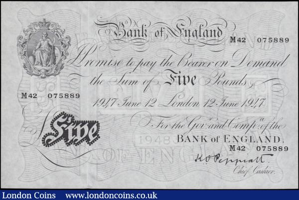 Five Pounds Peppiatt white note B264 dated 12th June 1947, series M42 075889, London issue, (Pick343), Uncirculated  : English Banknotes : Auction 161 : Lot 54