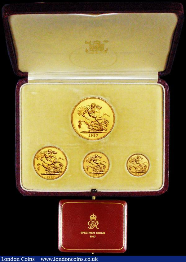 Proof Set 1937 (4 coins) Five Pounds to Half Sovereign nFDC to nFDC, generally with minor hairlines and a contact mark on the Two Pounds, retaining practically full mint brilliance, a most attractive set, in the original case of issue, this in very good condition : English Cased : Auction 161 : Lot 612