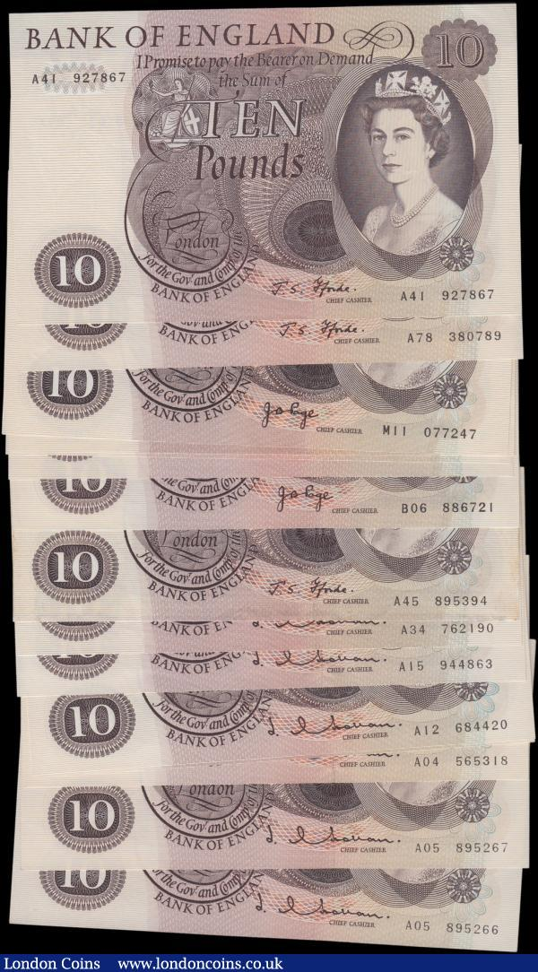 Ten Pounds (16), Hollom (7) B299 issued 1964, including a pair of consecutively numbered notes, Fforde (3) B316 issued 1967, including a FIRST RUN note A41 927867, Page (6) B326 & B327 issued 1971, including two REPLACEMENT notes M10 & M11, a very high grade collection good EF to Uncirculated : English Banknotes : Auction 161 : Lot 68