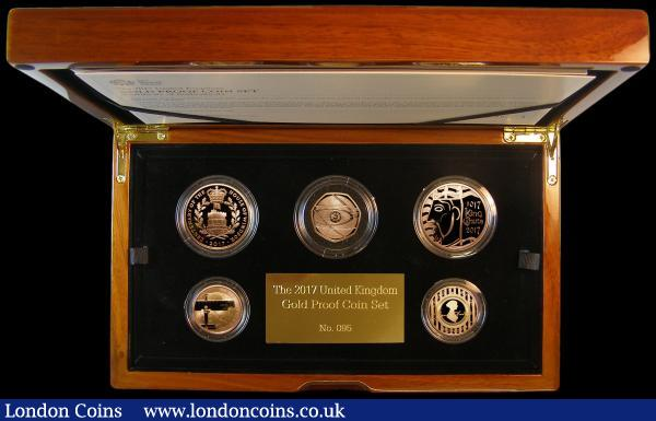 The 2017 United Kingdom Gold Proof Set a 5-coin set S.PGC20, comprising Five Pound Crown 2017 Centenary of the House of Windsor S.L49, Five Pound Crown 2017 1000th Anniversary of the Coronation of King Canute S.L50, Two Pounds (2) 2017 World War I - The War in the Air S.K44, 2017 200th Anniversary of the Death of Jane Austen S.K45, Fifty Pence 2017 S.H39 all Gold Proofs, FDC in the Royal Mint box of issue, a rare set, this being number 95 of only 100 sets produced : English Cased : Auction 161 : Lot 734