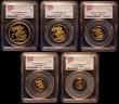 London Coins : A161 : Lot 782 : United Kingdom 2011 a 5-coin gold set in PCGS 'First Strike' holders comprising Five Pound...