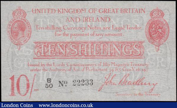 Bradbury Ten Shillings T12.1 issued 1915, nice number series B/50 22233, portrait King George V at top left, (Pick348a), cleaned and pressed, VF  : English Banknotes : Auction 162 : Lot 101
