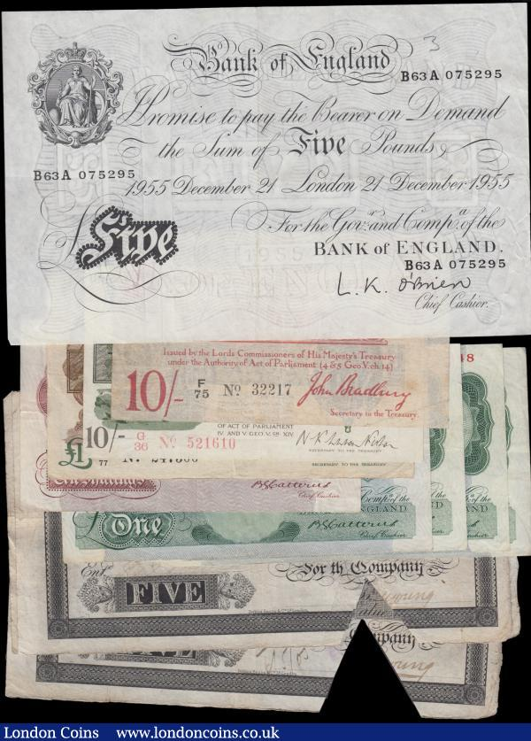 Treasury, Bank of England & Provincial (13), Bradbury 10 Shillings T12.1, Warren Fisher 10 Shillings T25, 1 Pound T31, O'Brien 5 Pounds white note dated 1955, Stamford Spalding & Boston Bank 5 Pounds (4), Bank of England Catterns 1 Pound (4) B225 issued 1930, 10 Shillings b223 issued 1930, mixed grades  : English Banknotes : Auction 162 : Lot 102